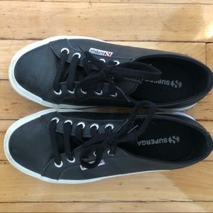 Superga Black Leather Sneakers